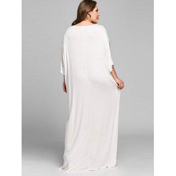 Lace Insert Batwing Sleeve Plus Size Maxi Dress - WHITE WHITE
