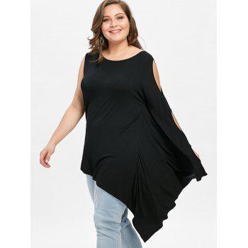 Plus Size Batwing Sleeve One Shoulder T-shirt - BLACK XL