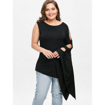 Plus Size Batwing Sleeve One Shoulder T-shirt - BLACK 2XL