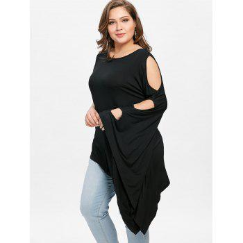 Plus Size Batwing Sleeve One Shoulder T-shirt - BLACK 4XL