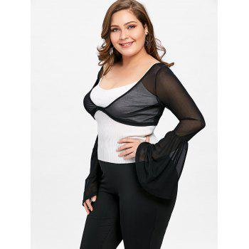 Plus Size Sheer Bell Sleeve Crop Top - BLACK 2XL