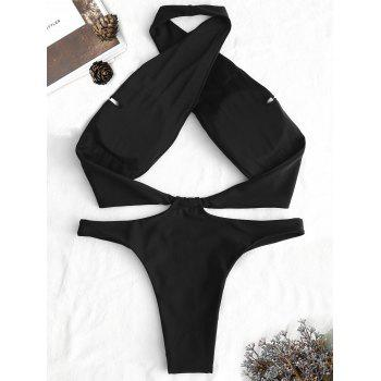 Cross Halter Neck Backless Swimsuit - BLACK S