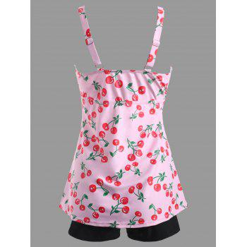 Two Piece Cherry Print Tankini Swimsuit - PINK M