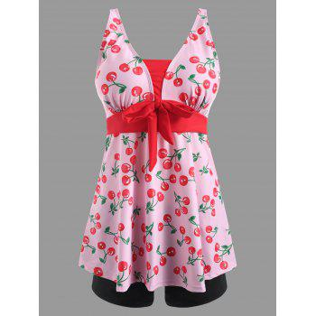 Two Piece Cherry Print Tankini Swimsuit - PINK L