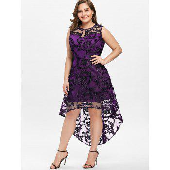Plus Size Dip Hem Lace Party Dress - PURPLE 5XL
