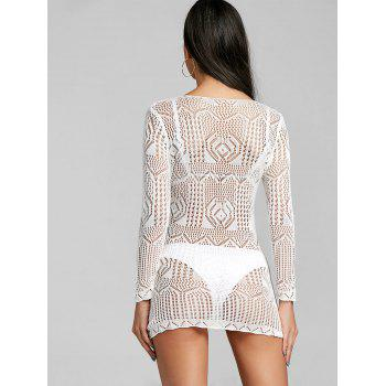 Embroidered Lace Cover Up Dress - WHITE ONE SIZE