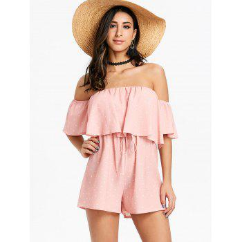 Off The Shoulder Polka Dot Romper - PINK S