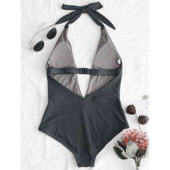 Backless Halter Plunge Front Swimsuit - GRAY L