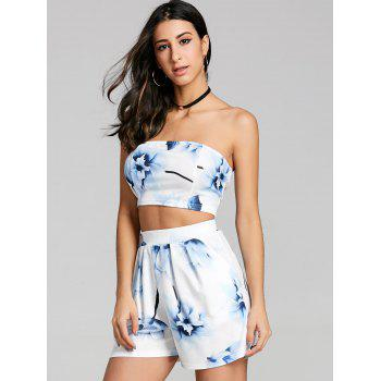 Floral Crop Shorts Two Piece Set - BLUE L