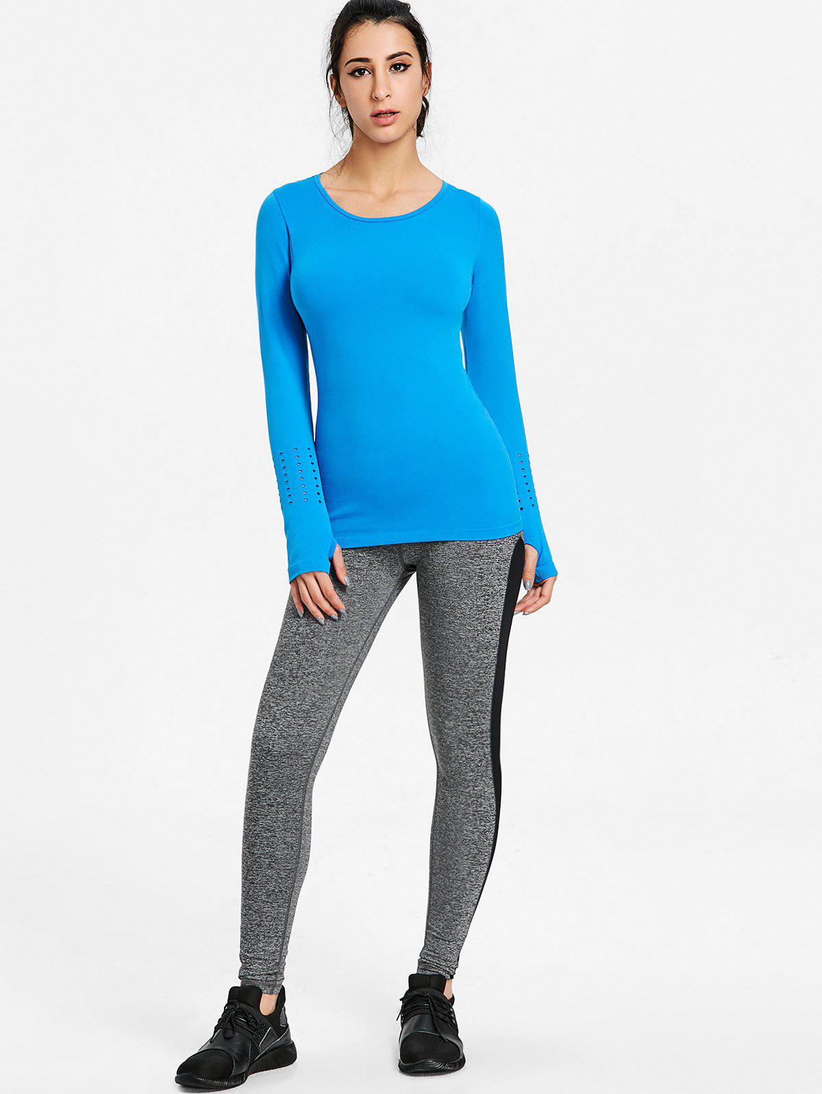 Sports Skinny Breathable Long Sleeve T-shirt - BLUE L