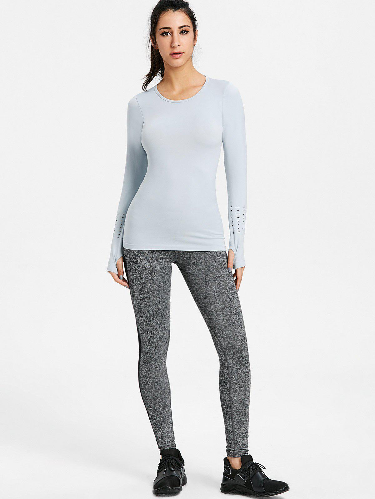 Sports Skinny Breathable Long Sleeve T-shirt - GRAY M