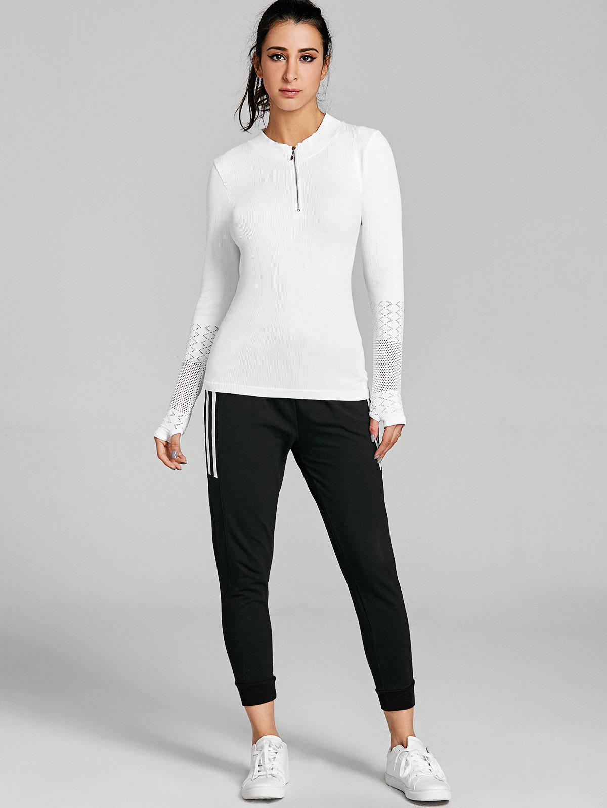 Sports Breathable Half Zip Up  T-shirt - WHITE M