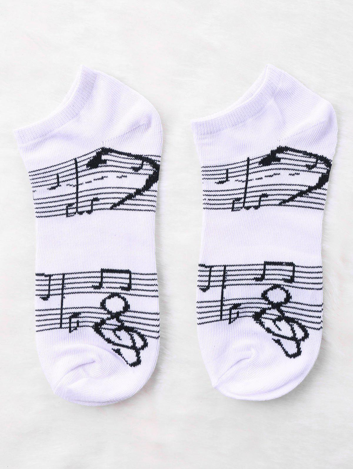 Pair Of Graphic Music Notes Print Socks - WHITE