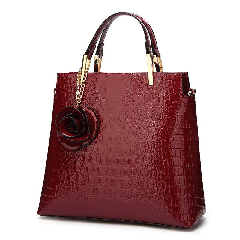 Flower Faux Leather Embossing Tote Bag - WINE RED