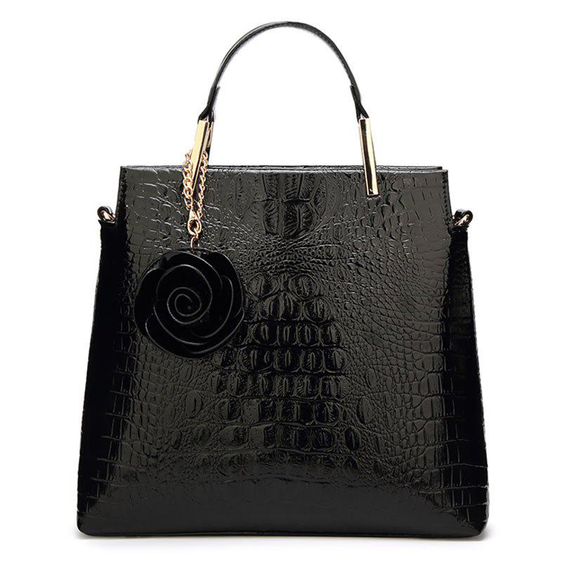 Flower Faux Leather Embossing Tote Bag - BLACK