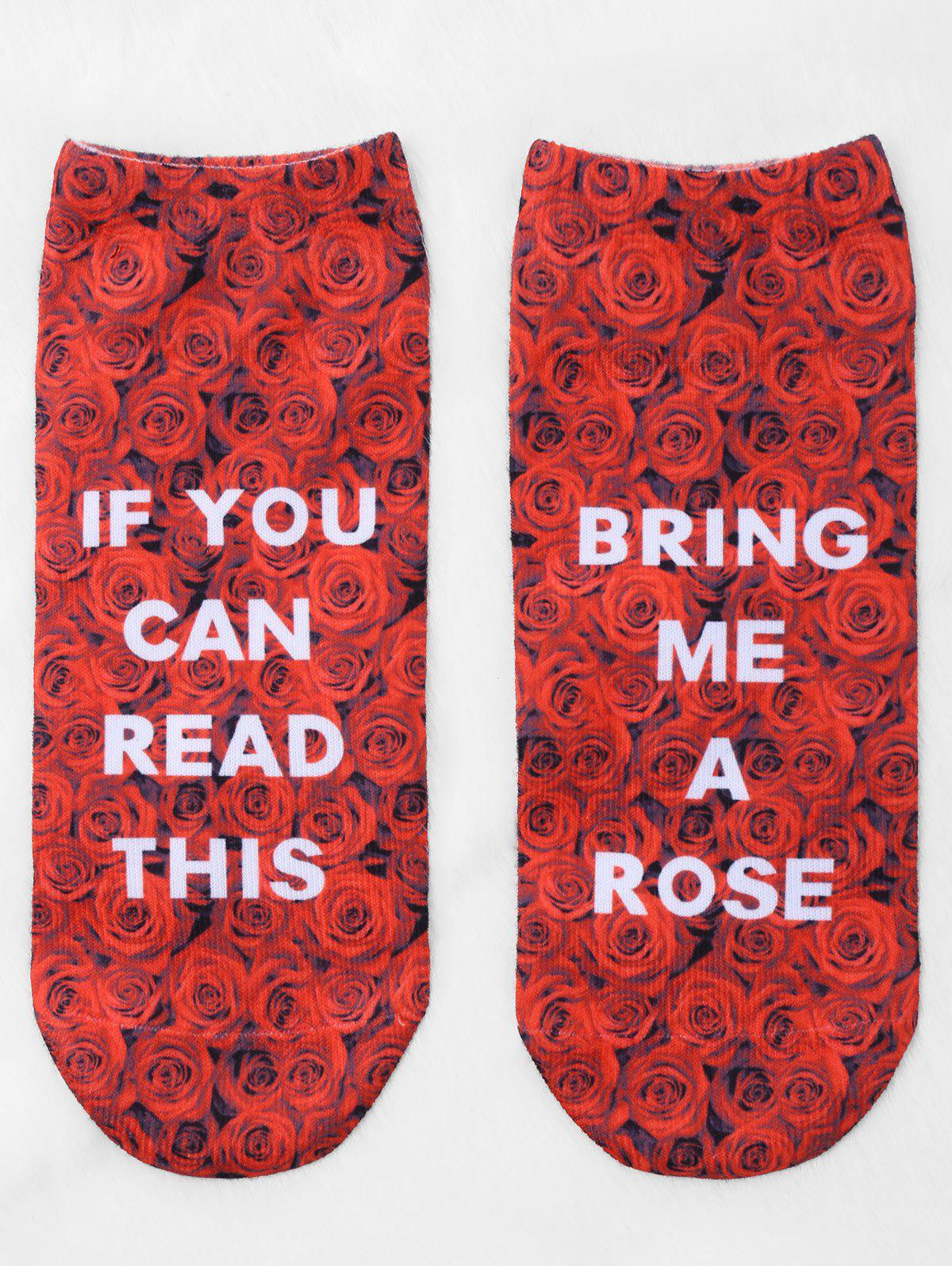 Pair Of Graphic Letter Rose Print Ankle Socks - RED