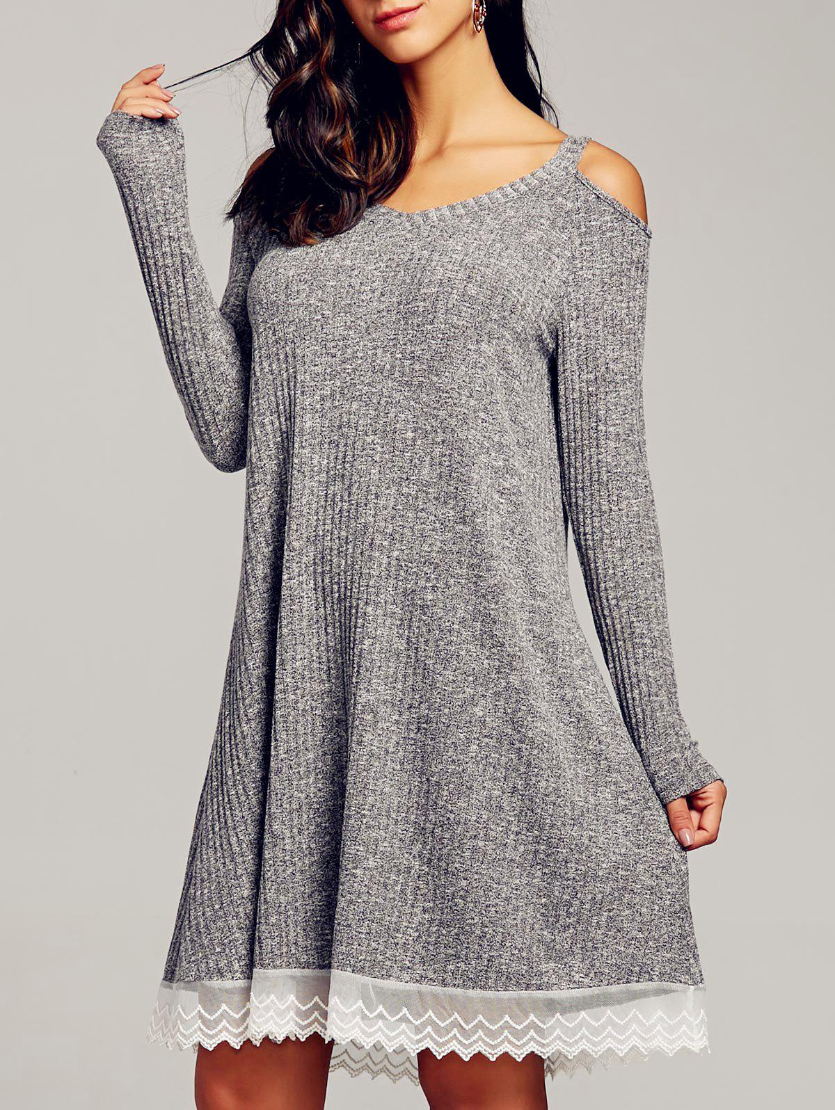 Cold Shoulder Swing Dress - GRAY 2XL
