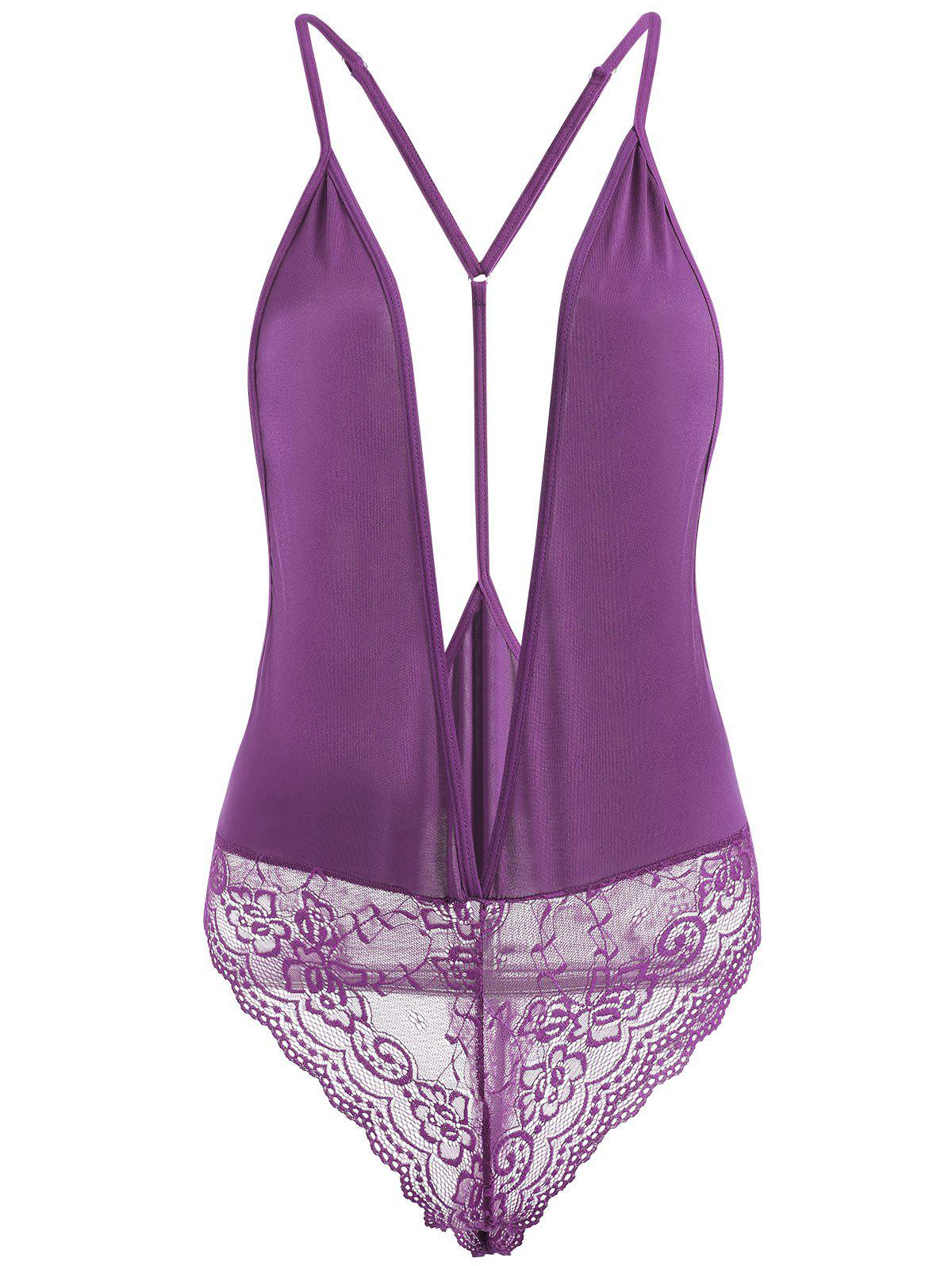 Lace Insert Plunge Neck Cami Teddy - PURPLE M