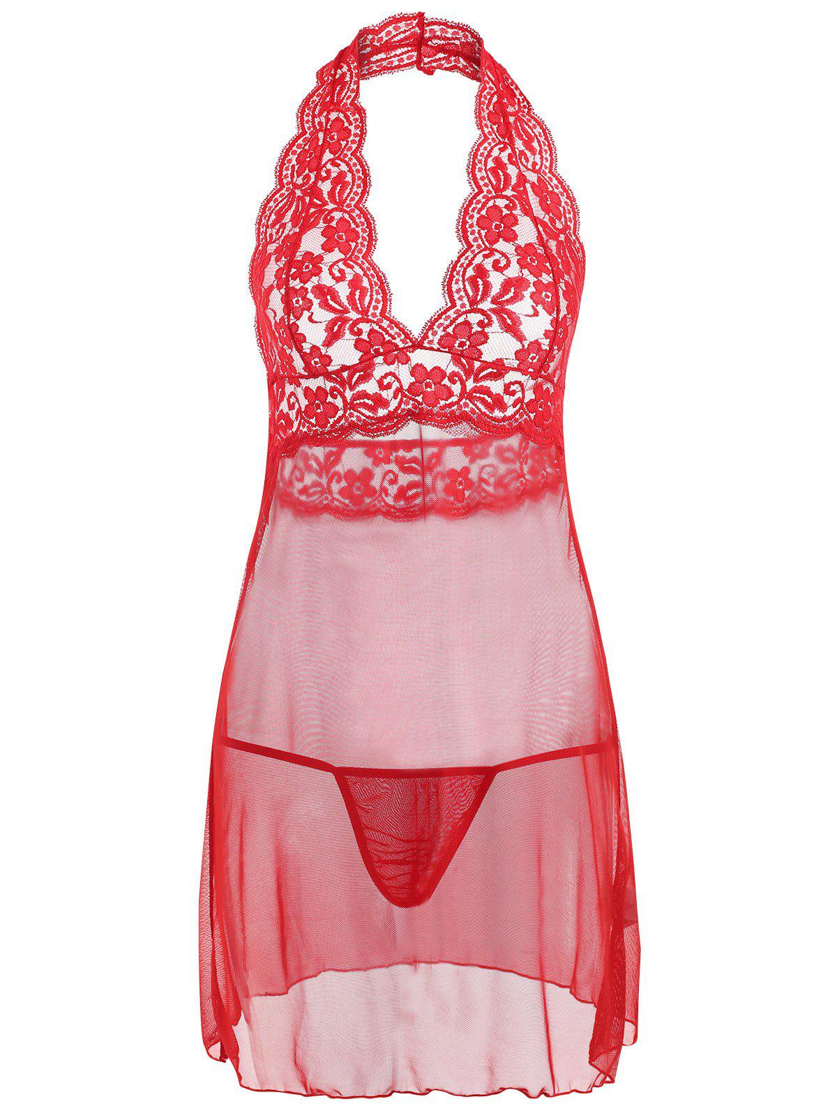 Halter Lace Mesh Low Back Babydoll - RED L