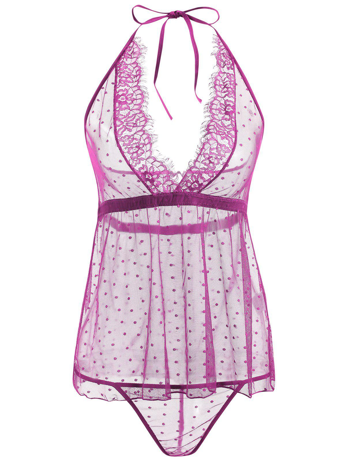 Lace Sheer Low Back Babydoll - PURPLE L