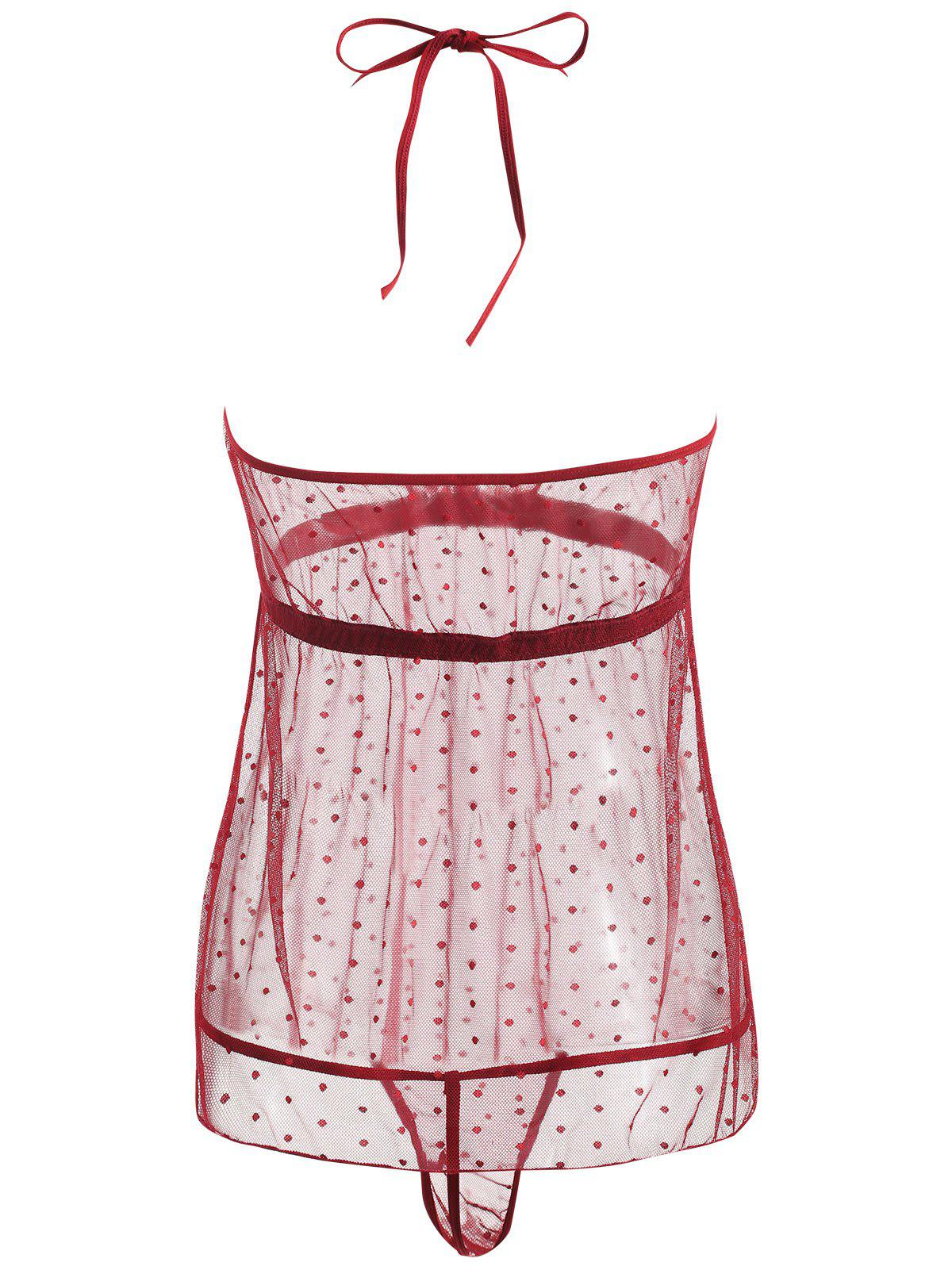 Lace Sheer Low Back Babydoll - WINE RED M