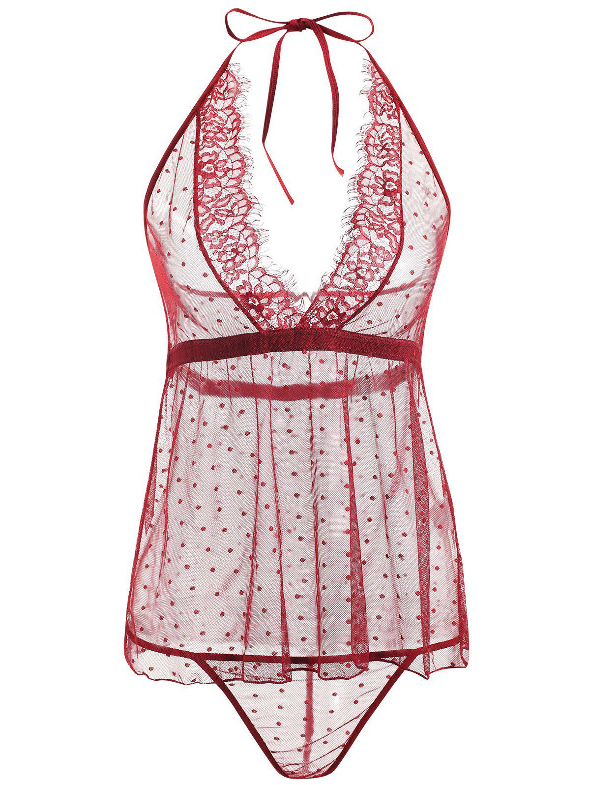 Lace Sheer Low Back Babydoll - WINE RED XL