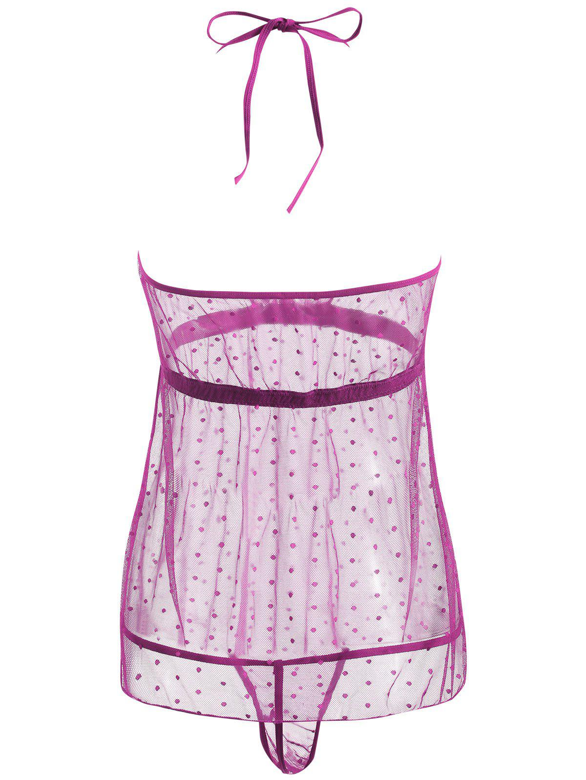 Lace Sheer Low Back Babydoll - PURPLE S