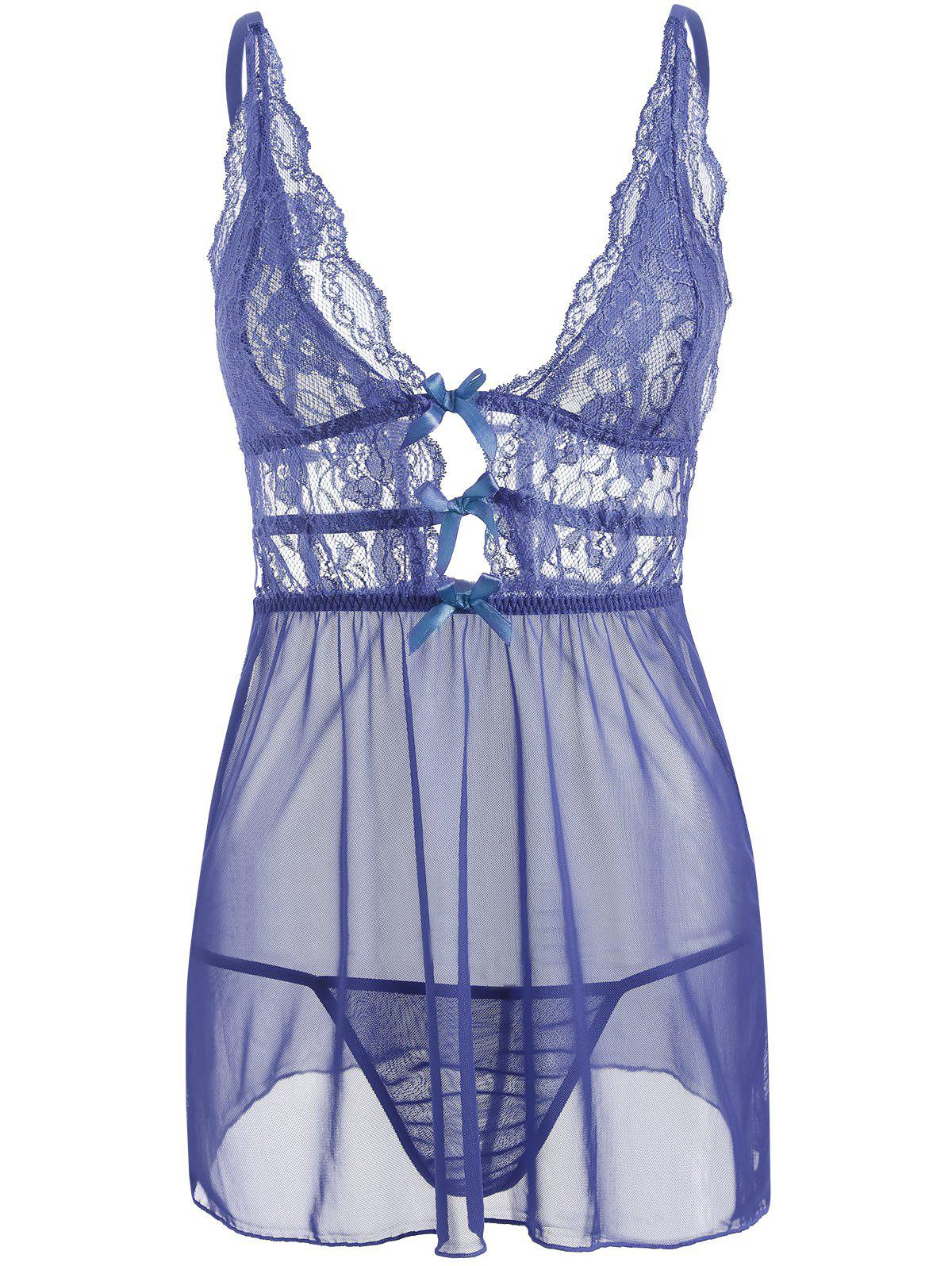 Caged Lace Mesh Slip Babydoll - BLUE XL