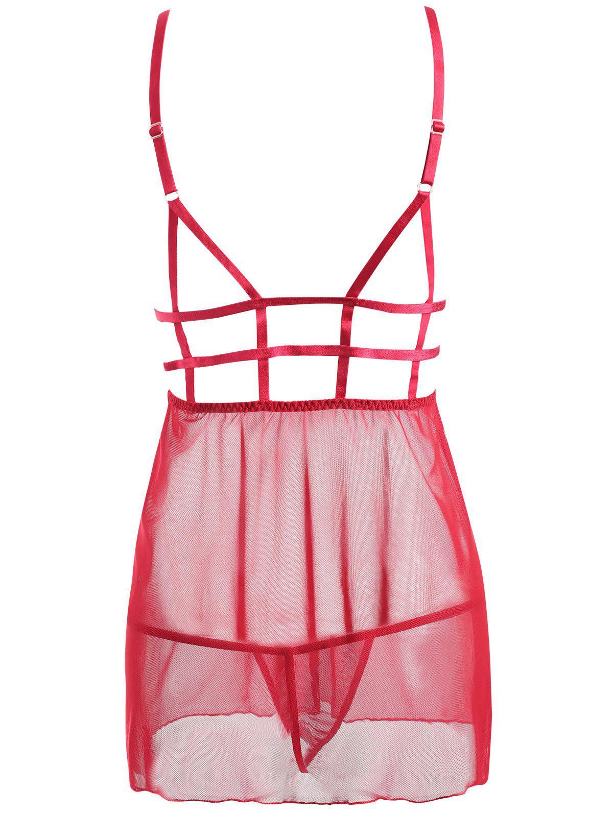 Caged Lace Mesh Slip Babydoll - RED S