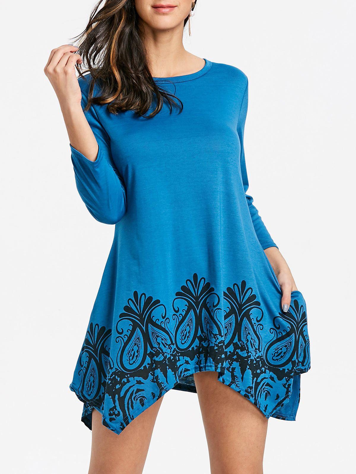 Floral Print Handkerchief Pockets Dress - BLUE S