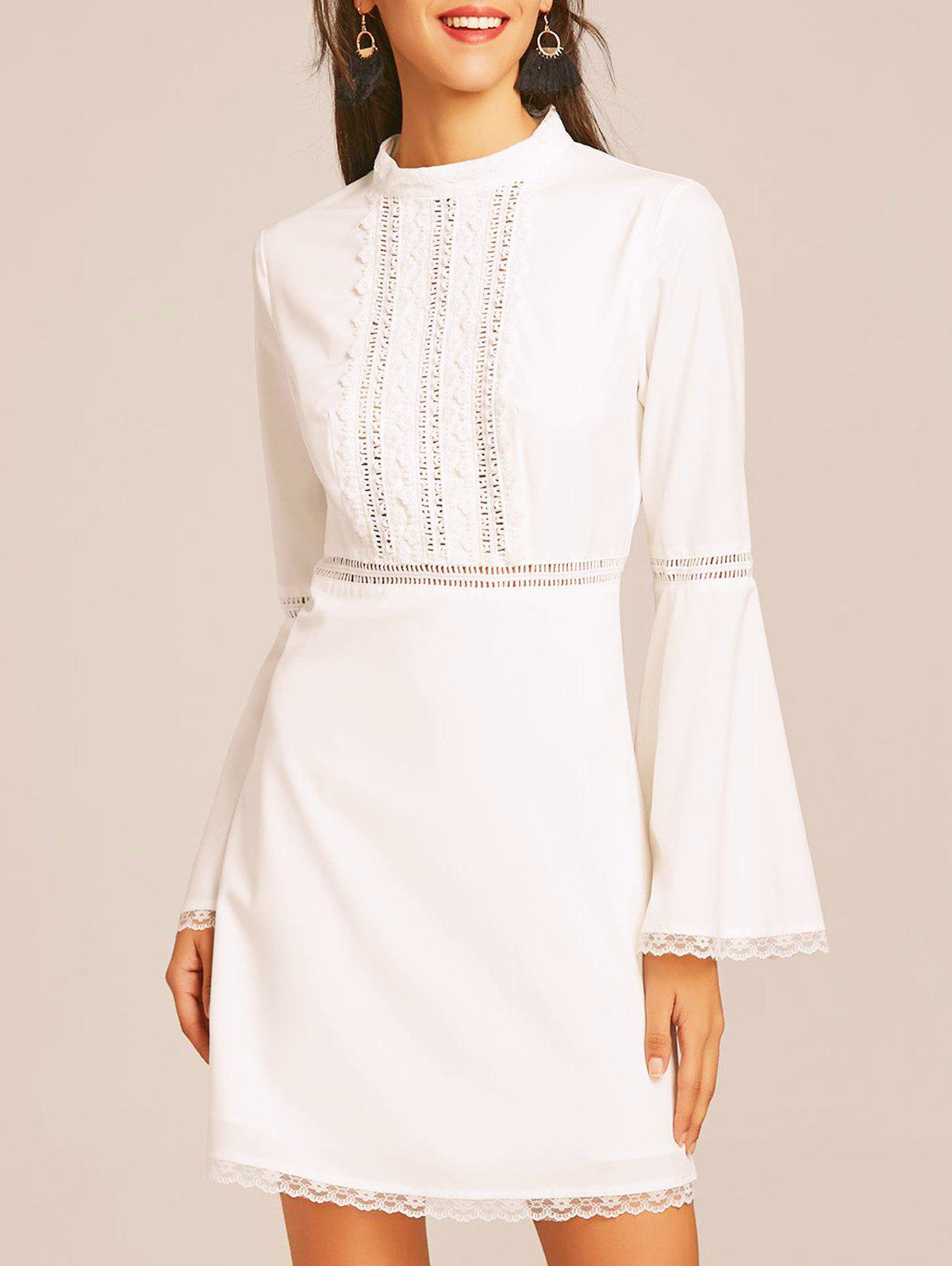 Lace Trim Bell Sleeve Flare Dress - WHITE M