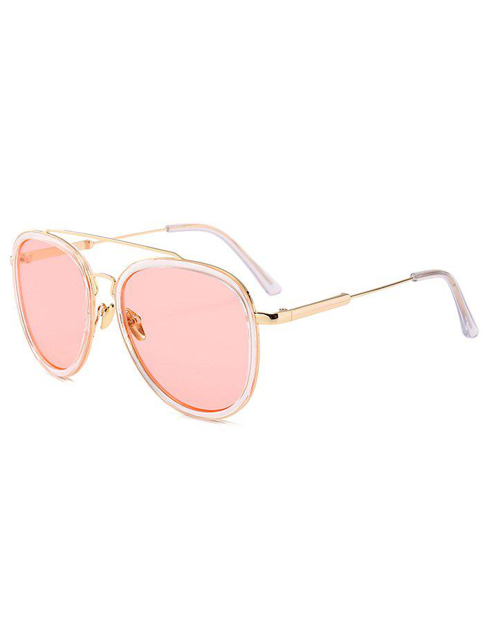 Anti UV Metal Full Frame Crossbar Pilot Sunglasses - LIGHT PINK