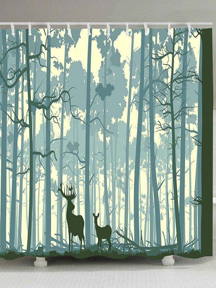 Forest Two Deer Print Waterproof Polyester Shower Curtain - COLORMIX W65 INCH * L71 INCH