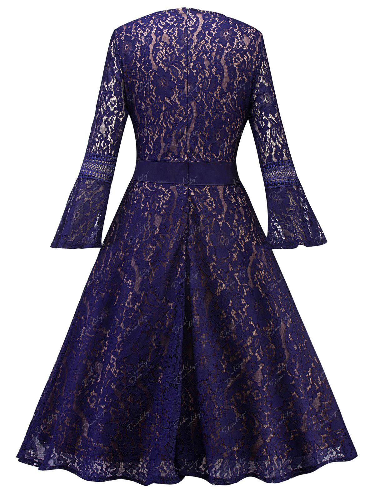 Bell Sleeve Fit and Flare Lace Dress - PURPLE L