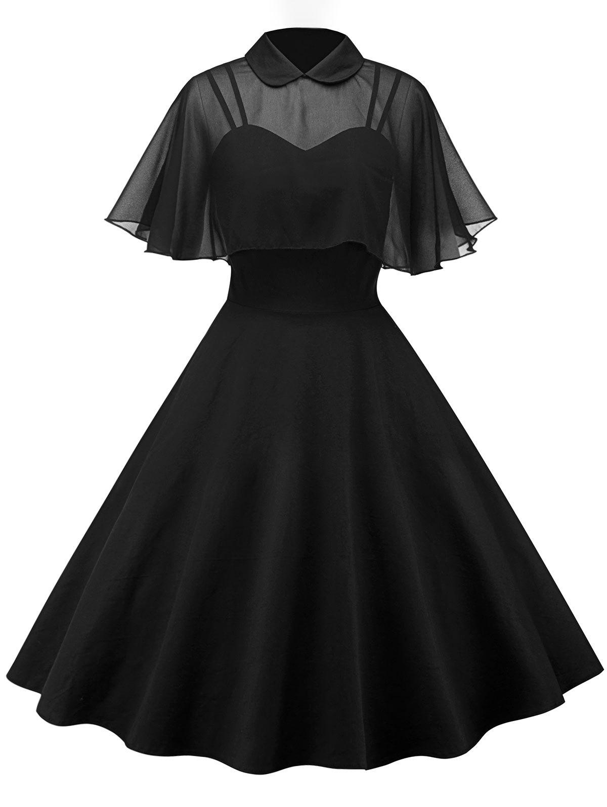 Vintage Pin Up Dress With Mesh Cape - BLACK M