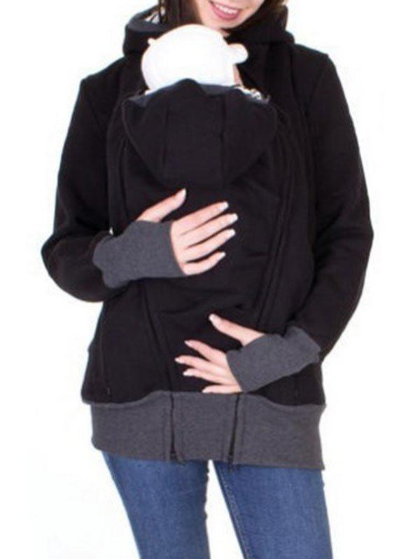 Zip Up Baby Holder Hoodie - BLACK 2XL