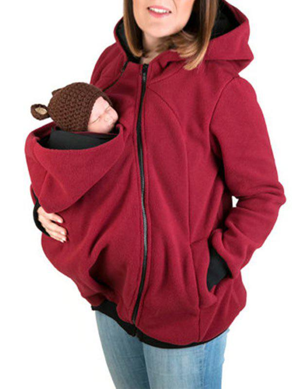 Baby Pouch Zip Up Hoodie - RED 2XL
