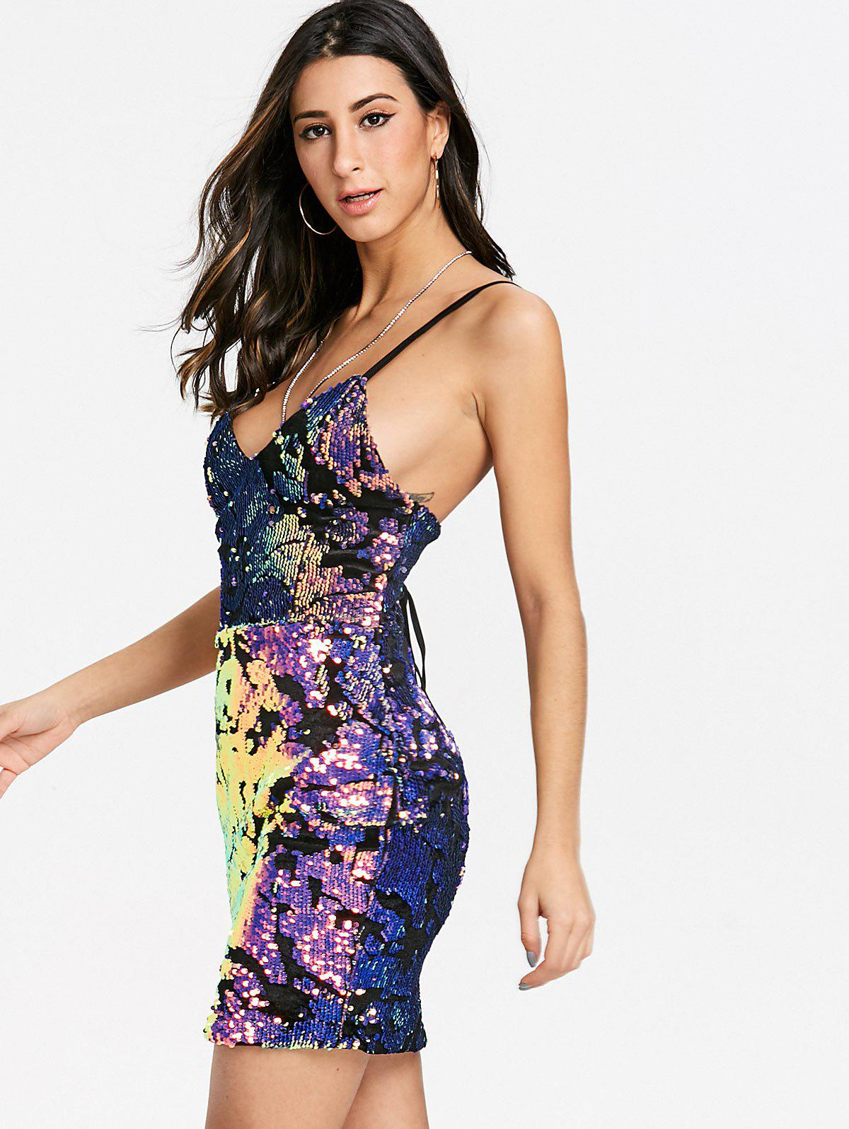 Spaghetti Strap Sequin Lace Up Club Dress - COLORMIX L