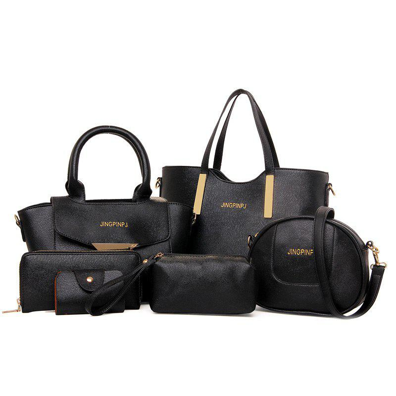 Metal 6 Pieces Letter Shoulder Bag Set - BLACK