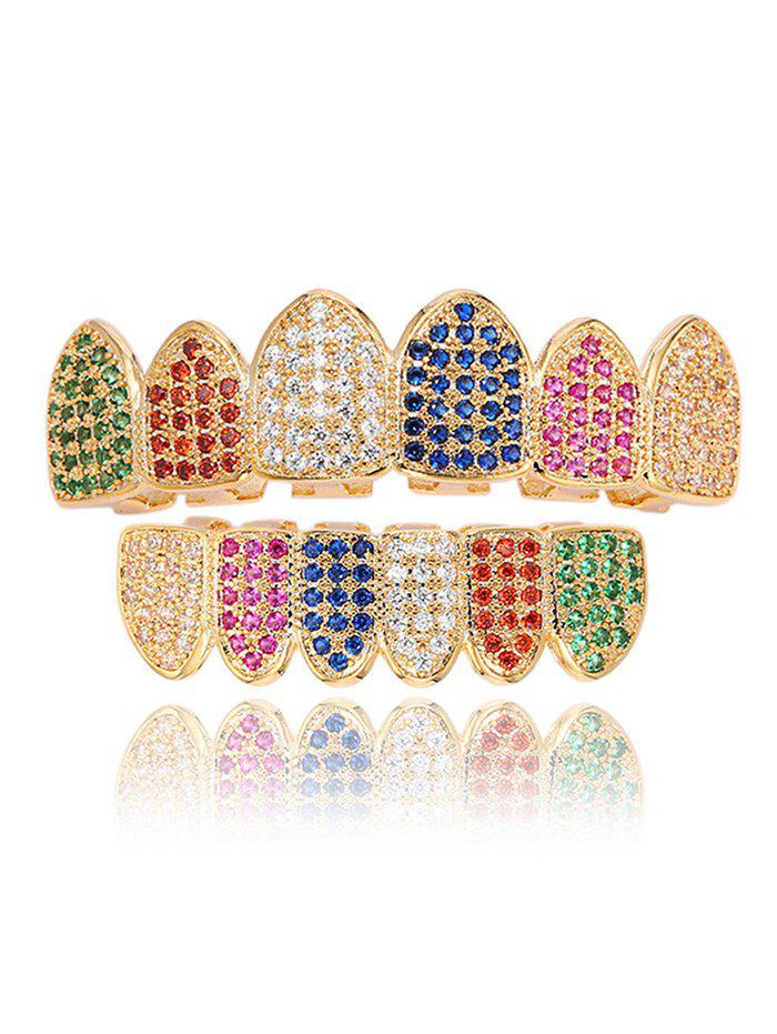 Sparkly Rhinestone Top and Bottom Teeth Grillz Set - COLORMIX
