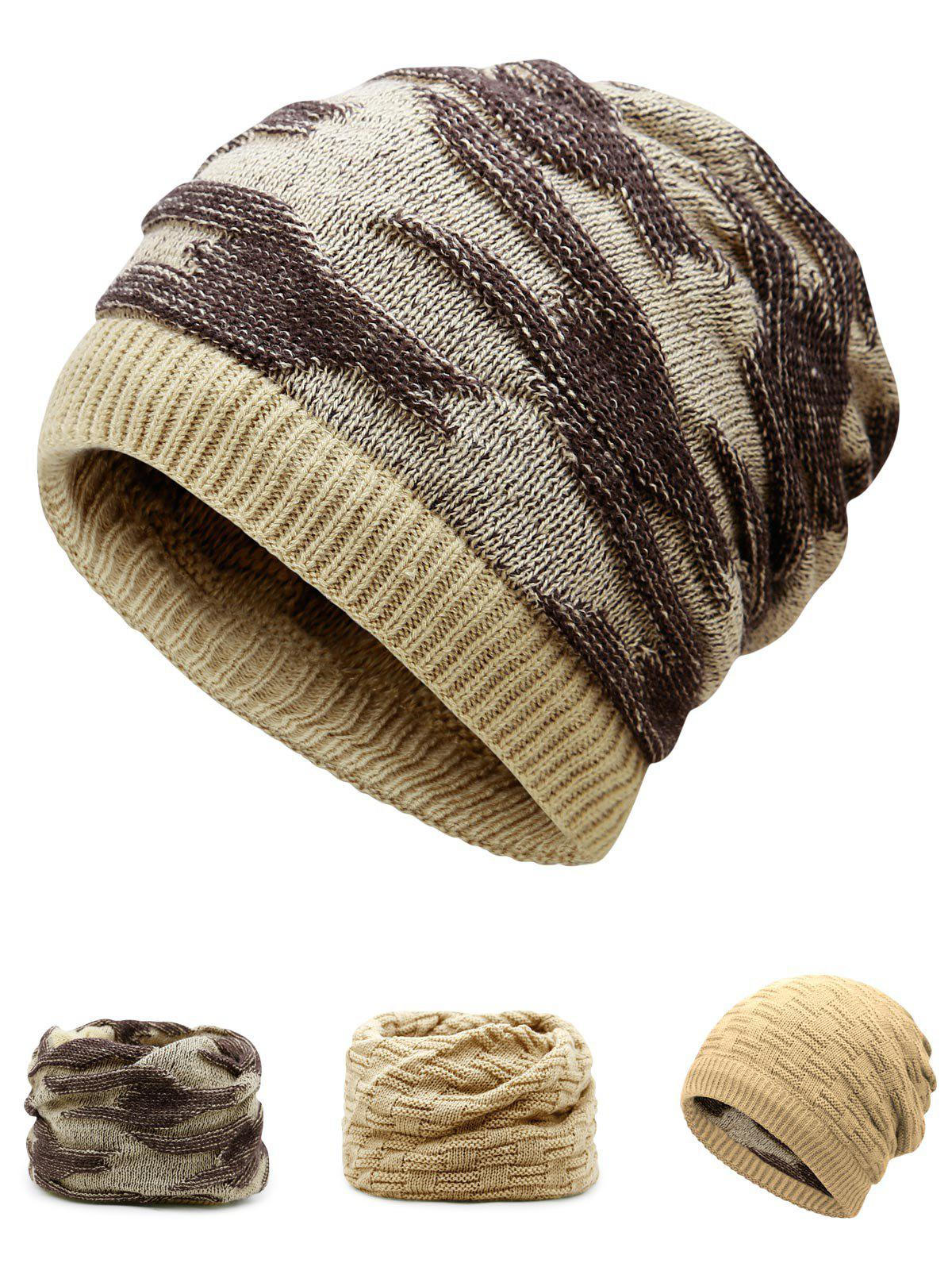 Multifunctional Ponytail Thicken Knitted Beanie Hat - PALOMINO