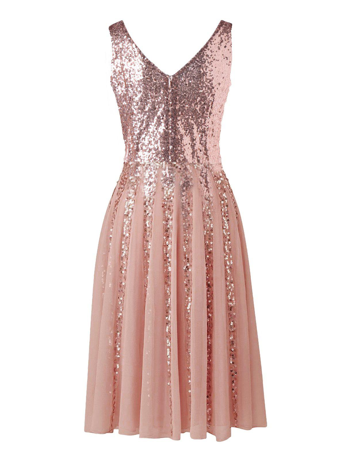 Sequined Sleeveless Chiffon Dress - PINK L