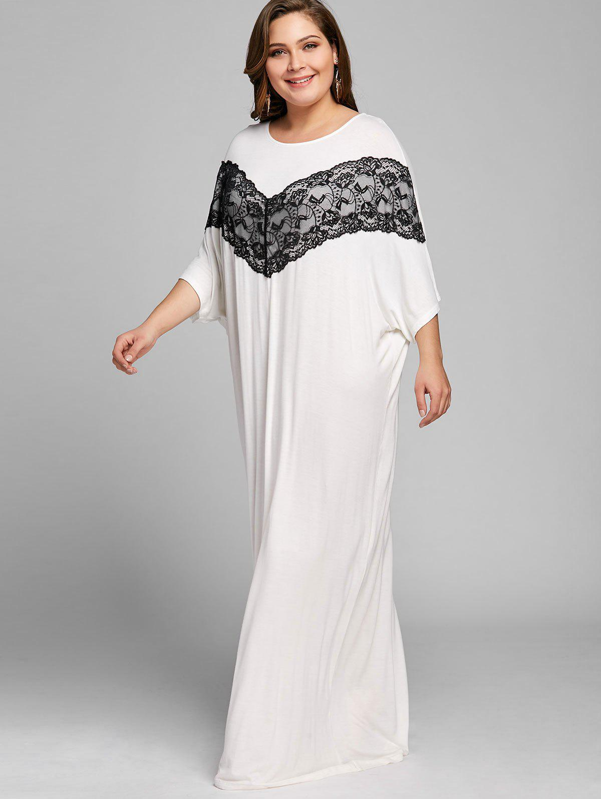 Lace Insert Batwing Sleeve Plus Size Maxi Dress - WHITE 4XL