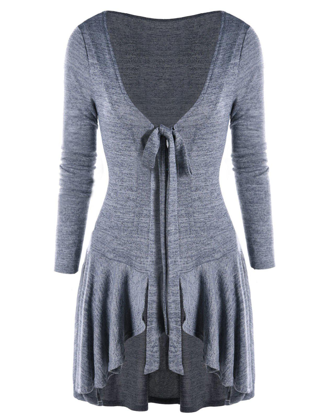 Bow Tie Neck Heathered High Low Cardigan - GRAY L