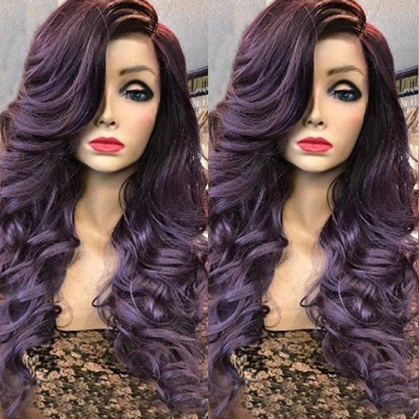 Deep Side Parting Long Wavy Curly Synthetic Fiber Wig - PURPLE