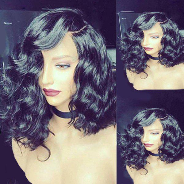 Medium Side Parting Body Wave Heat Resistant Synthetic Wig - BLACK