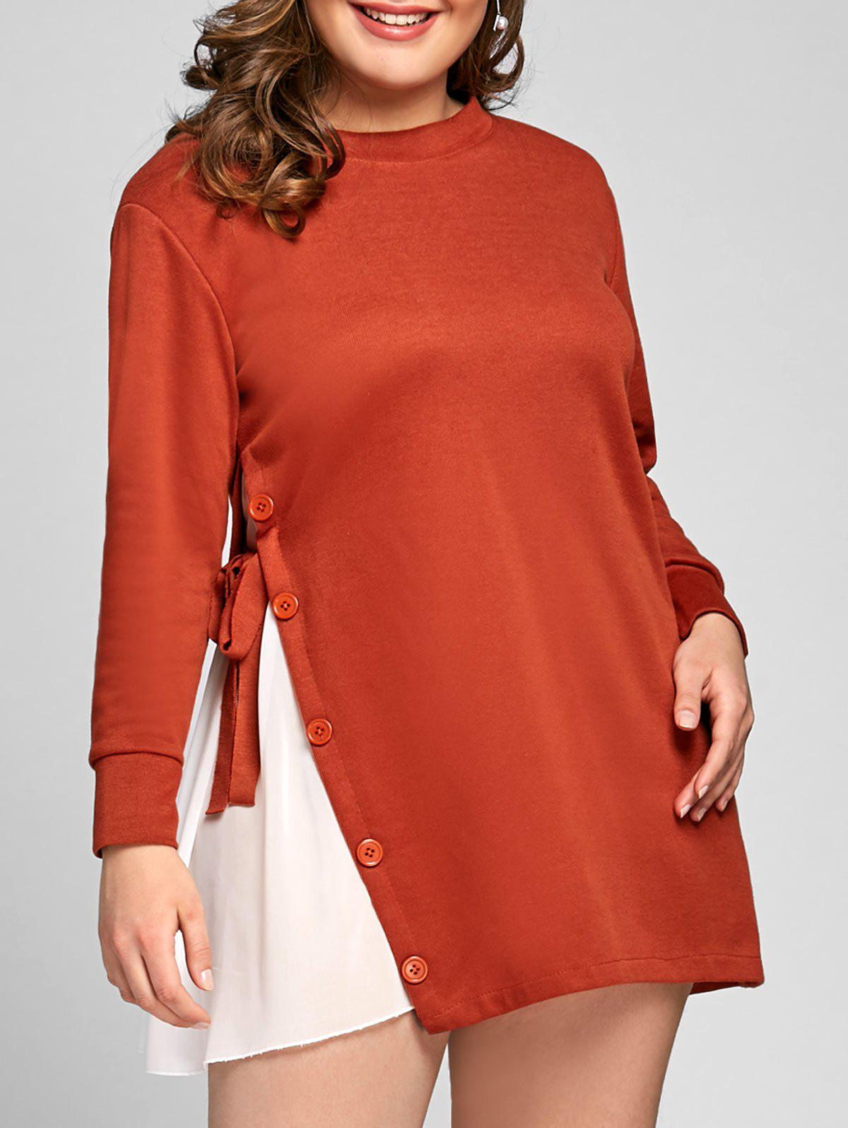Plus Size Button Embellished Long Tunic Top plus size bowknot embellished tunic top