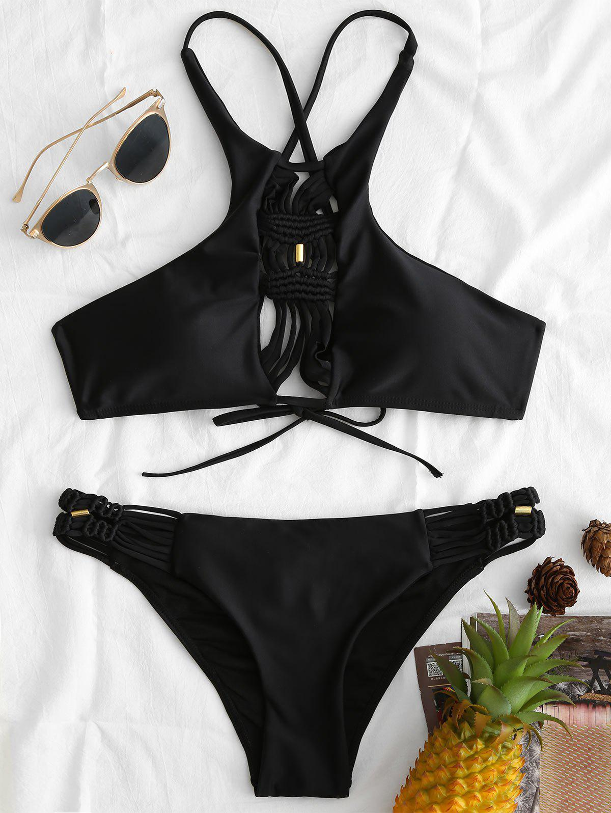 Crochet Cutout High Neck Bikini Swimsuit