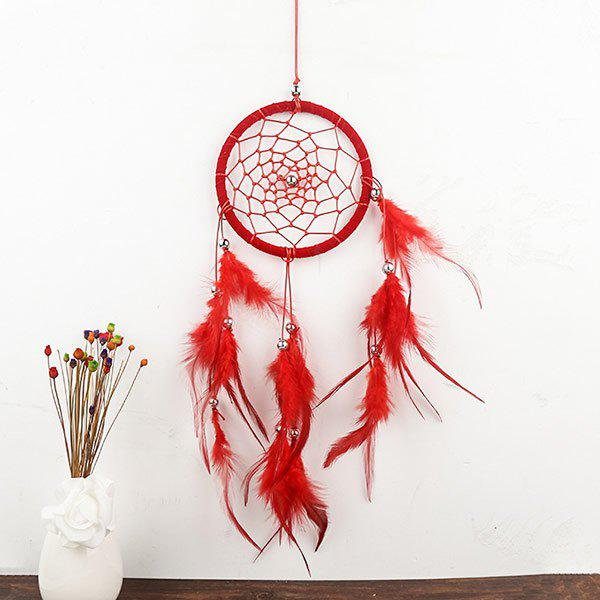 Indian Style Wall Hanging Feathers Dreamcatcher - RED