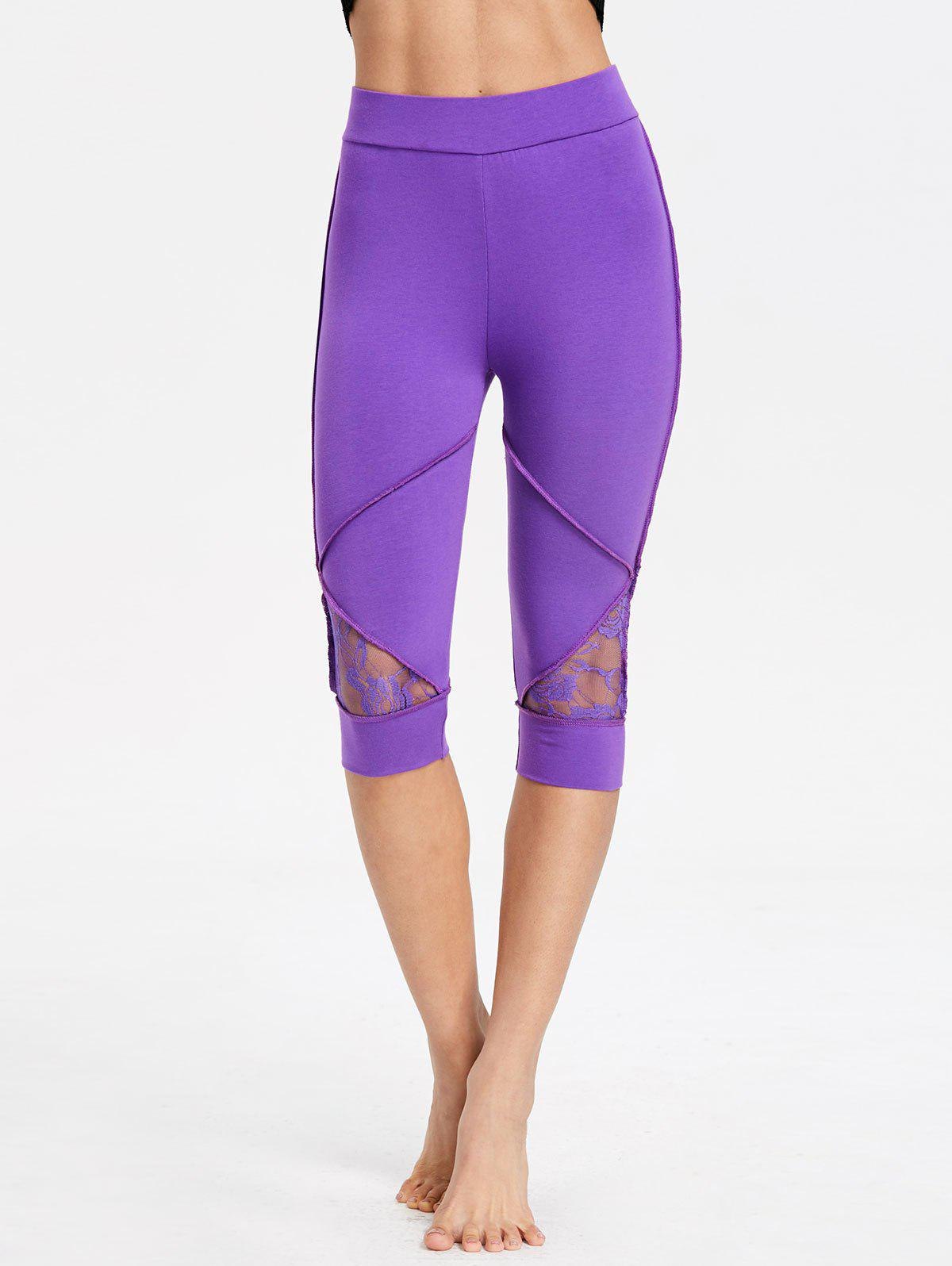 Lace Insert High Waisted Capri Leggings - PURPLE 2XL